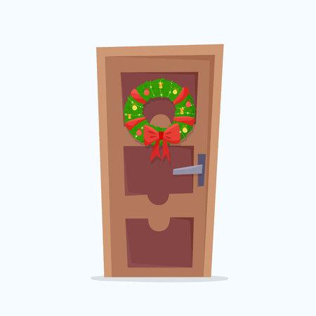 Tür mit Weihnachtskranz. Flache Cartoon-Stil-Vektor-Illustration.