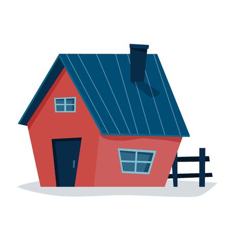 Cottage house. Flat cartoon style vector illustration. Ilustração