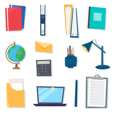 Work office objects and and tools. Isolated on white background. Flat cartoon style vector illustration.