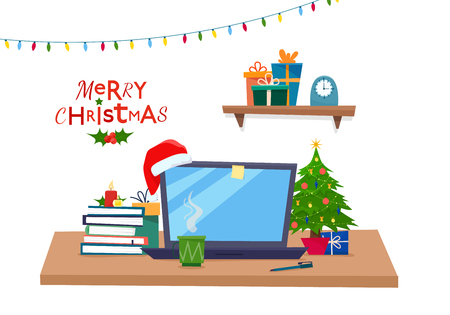Christmas office workplace. Table with computer, gifts, christmas tree, books . Freelancer workspace. Flat cartoon style vector illustration. Illustration