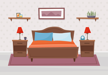 Bedroom with furniture. Flat style vector illustration. Иллюстрация