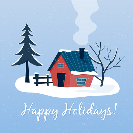 Winter snowy landscape with country house. Happy holidays. Flat cartoon style vector illustration.