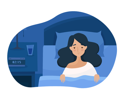 Sleepless girl suffers from insomnia. Woman in bed with open eyes in darkness night room. Flat cartoon style vector illustration.