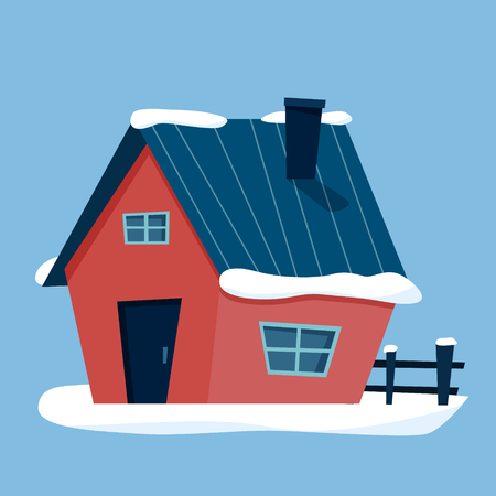 Winter cottage house with snow. Flat cartoon style vector illustration.