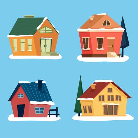 Snow houses set. Flat cartoon style vector illustration. Ilustração