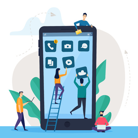 Phone concept with small people. Design mobile applications and communication, social networking, video,news,messages icons. Flat cartoon style vector illustration. Illustration