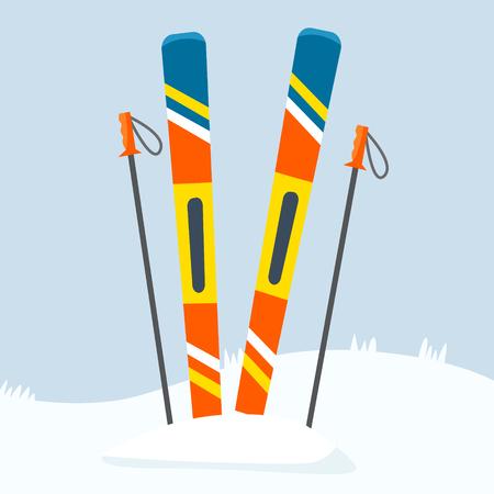 Ski equipment on resort. Flat certoon style vector illustration. 向量圖像