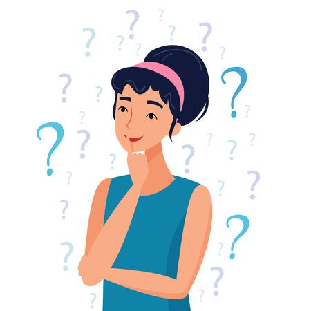 Femme pensante avec des points d'interrogation. Illustration vectorielle de style dessin animé plat.