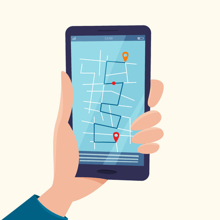 Navigation app with map on mobile phone in hand. Tracking system. Flat cartoon style vector iluustration.