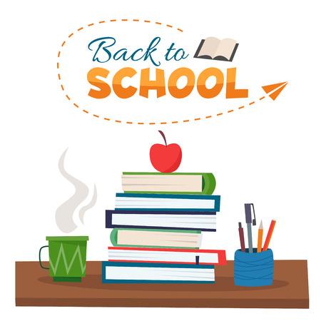 Back to school. Books, cup of tea and pencils on table. Flat cartoon style vector illustration. Ilustração