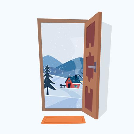 Door into winter landscape. Flat cartoon style vector illustration.