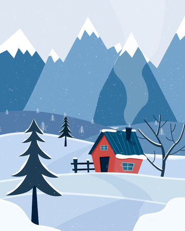 Winter snowy landscape with mountains and country house. Christmas season. Flat cartoon style vector illustration. 写真素材