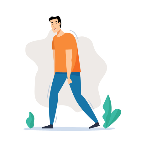 Tired man walking on street after work. Flat cartoon style vector illustration. 写真素材