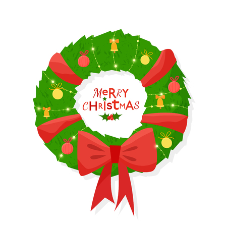 Christmas decorated wreath on a white background. Flat cartoon style vector illustration. Banco de Imagens