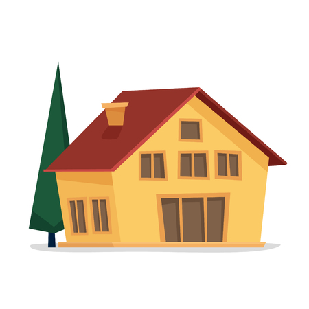 Cottage house. Flat cartoon style vector illustration. 写真素材
