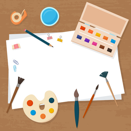 Art tools and materials for painting and creature for artist. Paints, palette, paper and brush. Flat cartoon style vector illustration.