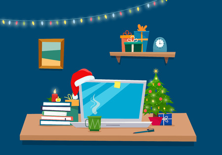 Christmas office workplace. Table with computer, gifts, christmas tree, books . Freelancer workspace. Flat cartoon style vector illustration. Stock Photo
