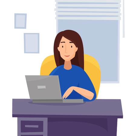 Woman work at computer in office. Flat cartoon style vector illustration.