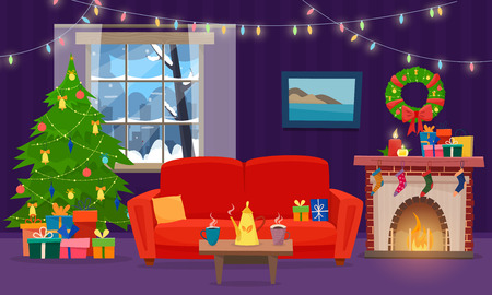 Sofa with table, cup of tea, cookies and pillow. Christmas fireplace with gifts, socks and candles. Winter window with lights. Flat cartoon style vector illustration. Stock Photo