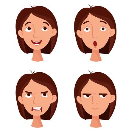 Girl emotions set. Flat cartoon style vector illustration.
