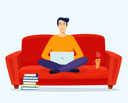 Man with computer work on sofa. Freelancer at home. Flat cartoon style vector illustration. Stock Photo