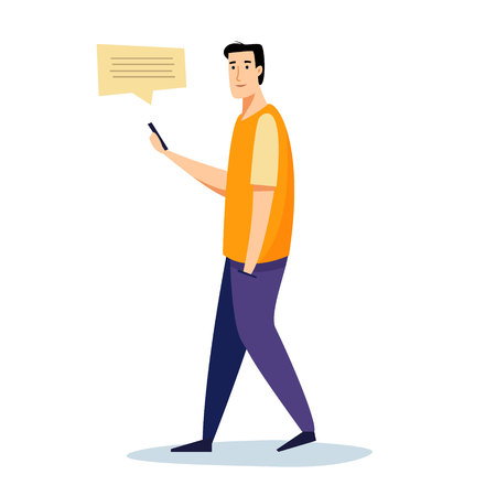 Men with mobile phone. Flat cartoon style vector illustration.