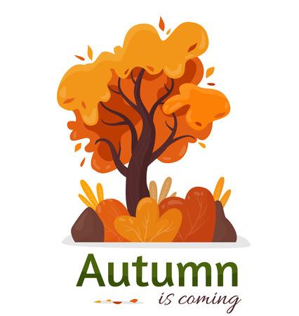 Autumn in coming. Yellow tree. Cartoon flat style vector illustration.