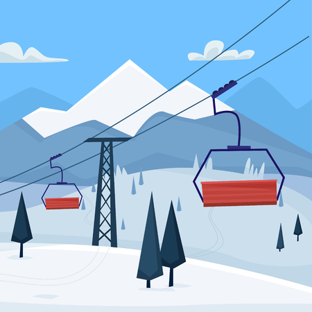 Ski resort with lift, house and winter mountains landscape. Flat cartoon style vector illustration.