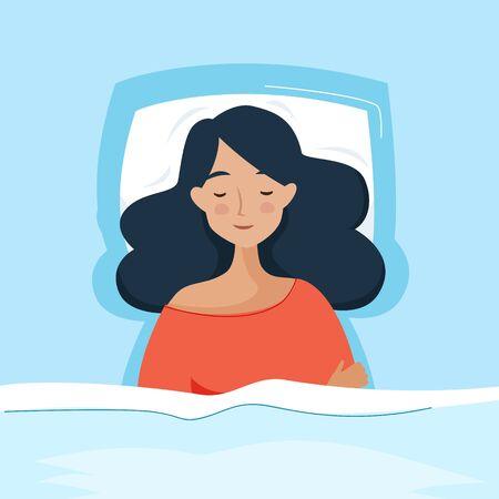 Woman sleep in bed. Flat cartoon style.