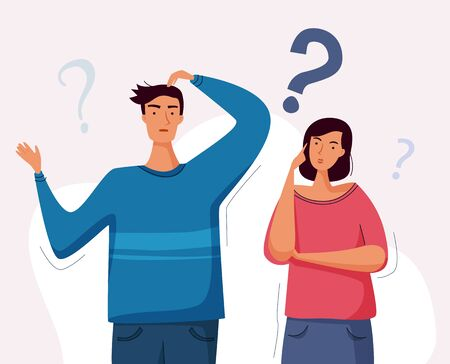 Man and woman have a question. Couple thinking together. Flat cartoon style.