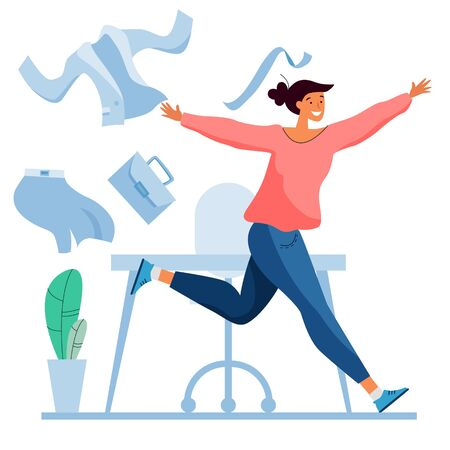 Run from office to freedom. Going on vacation or weekend. Towards freelance. Office cloths. Flat cartoon style. Stock Illustratie