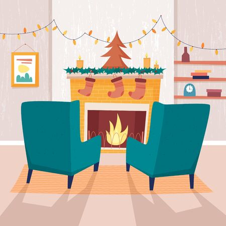 Chair and christmas fireplace with socks and candles. Flat cartoon style vector illustration.