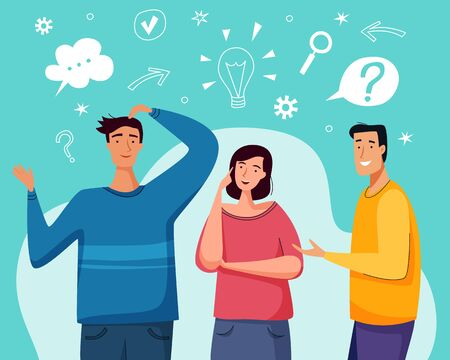 People have a question. Couple thinking together. Flat cartoon style. Ilustracja