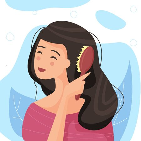 Young woman brushing healthy hair. Brush in hand. Flat cartoon style vector illustration.