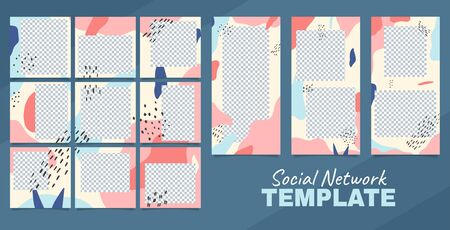 Editable template for blog in social networks. Puzzle collage for posts and stories in abstract design. Mockup for social media. Vector illustration.