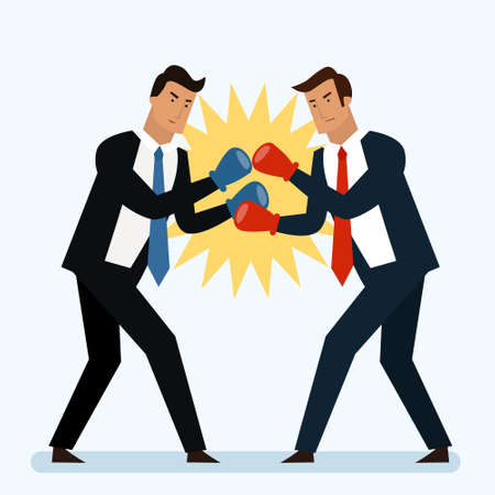 Businessmen are fighting in the ring concept. Boxing. Competotors. Flat style vector