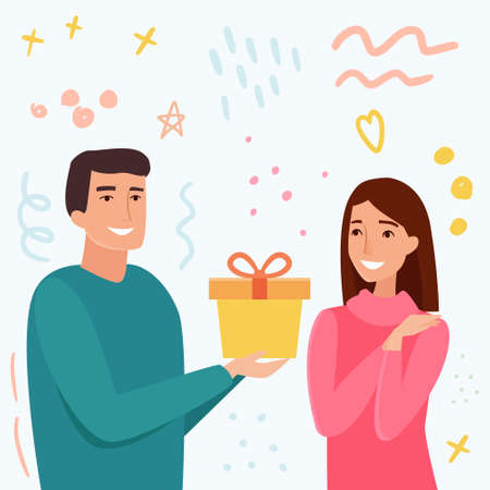 Man take gift for woman. Cartoon flat style vector illustration.