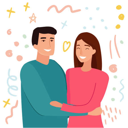 Hugs of a man and a woman. Cartoon flat style vector illustration. Vector illustration