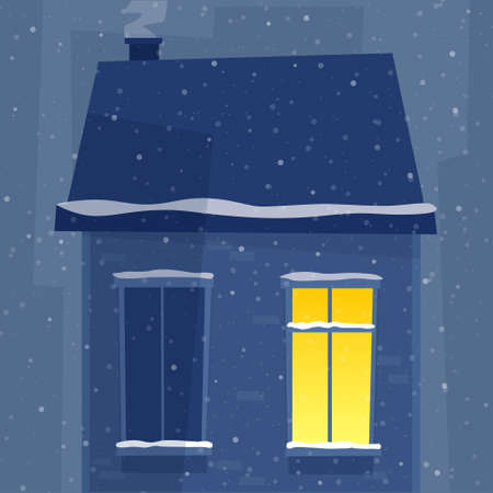 Windows in night house. Winter town with snow. Flat style vector.