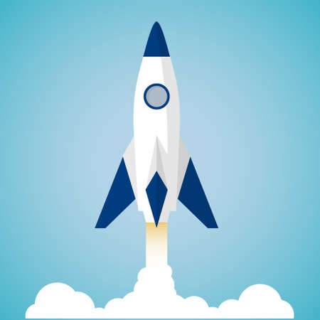 Rocket launch concept. Flat style vector.