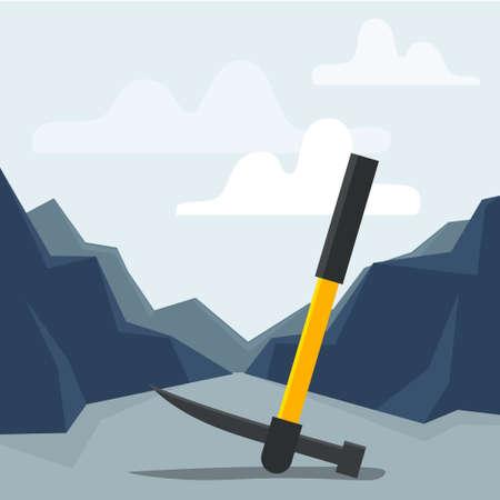 Mine pickaxe. Flat style vector illustration. Illusztráció
