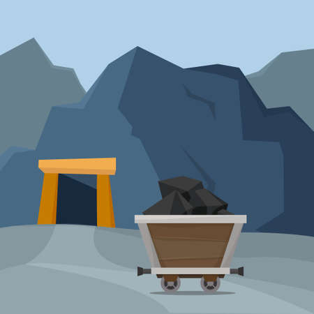 Truck with ore in a mine. Flat style vector. Vector illustration