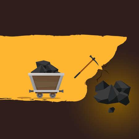 Mining of ore. Flat style vector Illusztráció