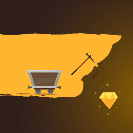 Extraction of gem. Flat style vector. Vector illustration