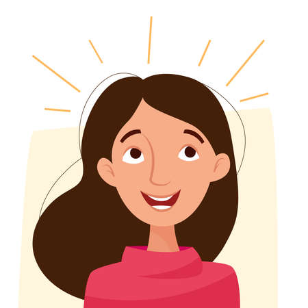 Happy cartoon girl smiling and shine. Flat vector illustration. Illusztráció