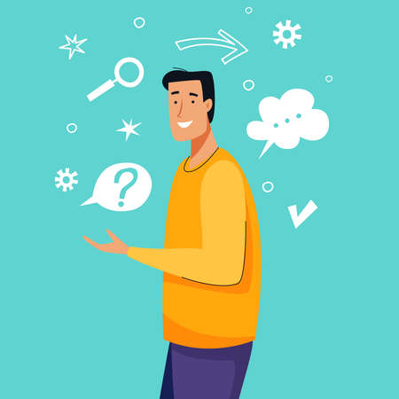 Man thinking and has idea. Flat cartoon. Vector illustration