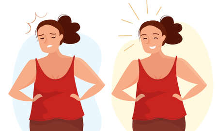 Woman sad and happy. Emotions and mood female. Cartoon flat style vector.
