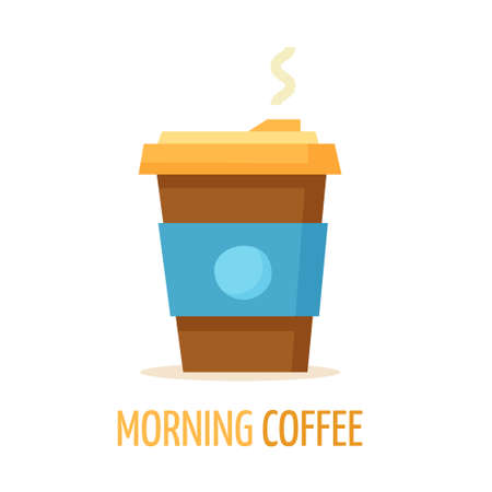 Coffee cup. Flat cartoon. Vector illustration Illusztráció