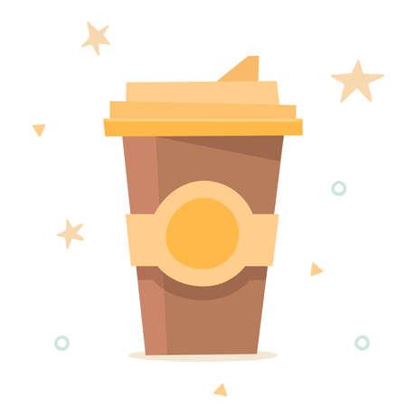 Coffee cup. Flat cartoon. Vector illustration Illusztráció
