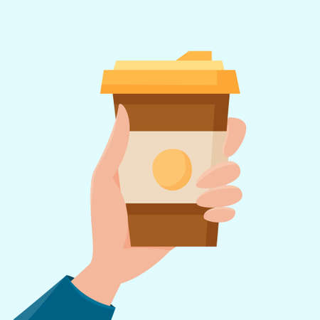 Hand hold cup of coffee. Beverage in disposable cup takeaway. Flat cartoon . Vector illustration